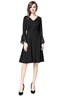 Joy EnvyLand Women V Neck Lace Autumn Prom Party Cocktail Swing Thick Midi Dress