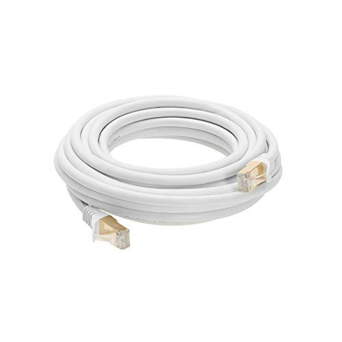 6FT S/FTP CAT 7 Gold Plated Shielded Ethernet RJ45 Copper Cable 10 Gigabit Ethernet Network Cat7 Patch Cord (6ft, White)