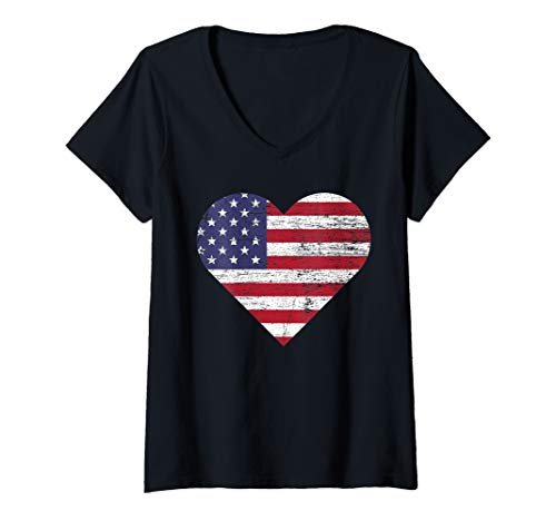 Womens US Heart Flag Love America Stars and Stripes July 4th V-Neck -