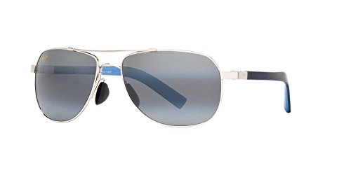 Maui Jim Guardrails 327-17 Polarized Aviator Sunglasses,Silver Frame/Neutral Grey Lens,One - Hut Jim Maui Sunglass