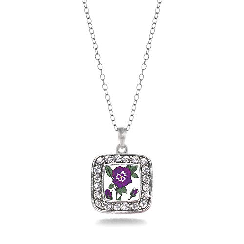 Inspired Silver - Pansy Flower Charm Necklace for Women - Silver Square Charm 18 Inch Necklace with Cubic Zirconia Jewelry ()