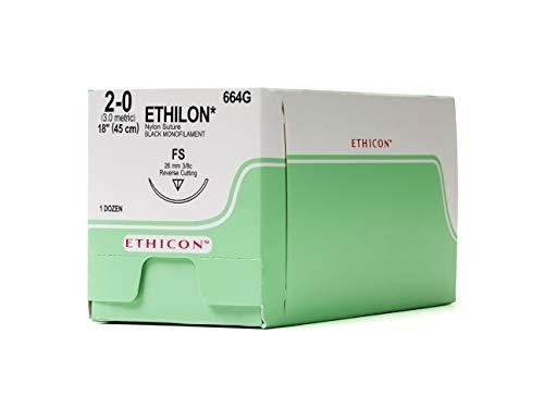 - Ethicon ETHILON Nylon Suture, 664G, Synthetic Non-absorbable, FS (26 mm), 3/8 Circle Needle, Size 2-0, 18