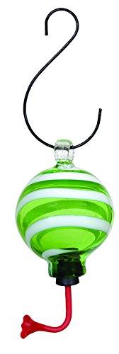 Gardman BA05710 Green/White Swirl Sphere Glass Hummingbird Feeder, 4