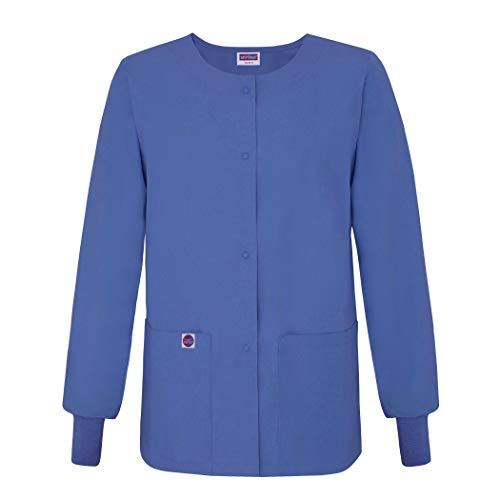 (Sivvan Women's Scrub Warm-Up Jacket/Front Snaps - Round Neck - S8306 - Ceil Blue - XXS)
