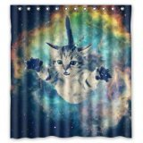 """66""""(W) x 72""""(H) - Galaxy Space Cat Shower Curtain 100% Waterproof Polyester Bathroom Curtain,Shower Rings Included"""