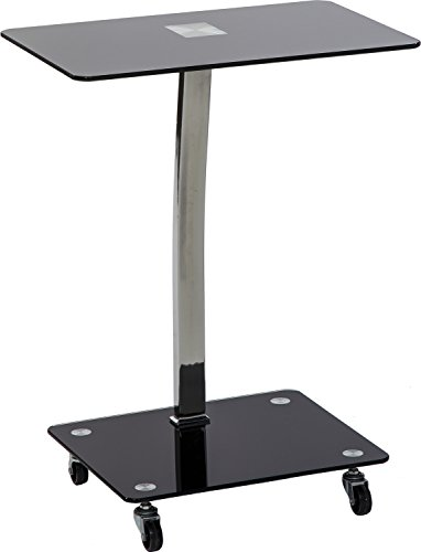 Cheap Mango Steam Alameda Portable Wheeled Tempered Glass Laptop Desk Accent Table – Black and Chrome