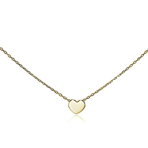 Yellow Gold Flashed Sterling Silver Polished Heart Tiny Choker Necklace