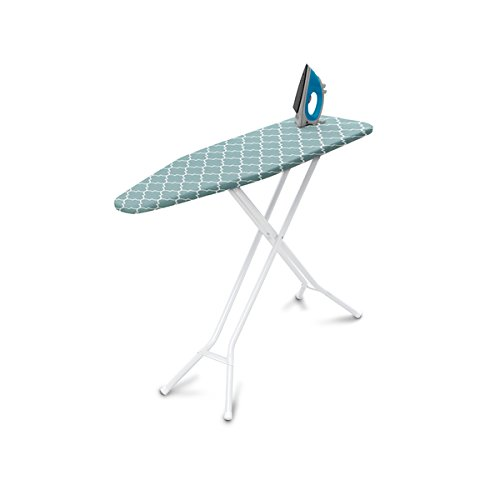 Homz 4-Leg Steel Top Ironing Board, Blue Lattice Cover (Best Rated Ironing Board)