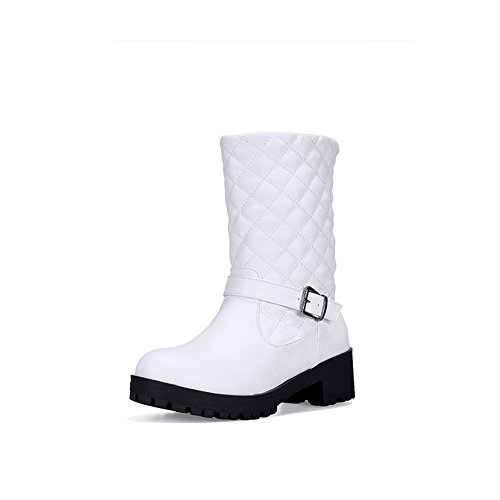 1TO9 Ladies Chunky Heels Platform Buckle White Imitated Leather Boots - 6.5 B(M) - Perversion Roman