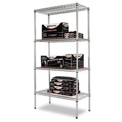 - (3 Pack Value Bundle) ALESW503618SR Wire Shelving Starter Kit, 4 Shelves, 36w x 18d x 72h, Silver