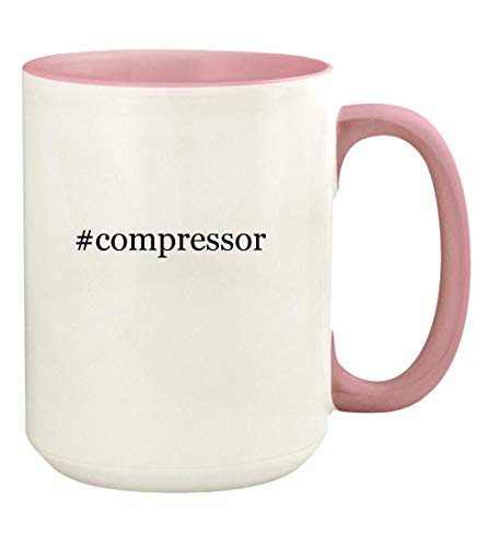 - #compressor - 15oz Hashtag Ceramic Colored Handle and Inside Coffee Mug Cup, Pink