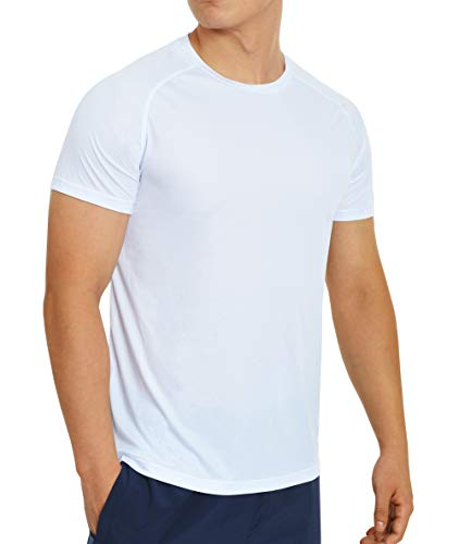 Quick Dry Gym T-Shirts for Men Short Sleeve Athletic Running Shirts Mens Lightweight Outdoor Workout Tshirts (Medium, White) ()
