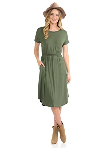 Waist Knit Skirt Drop - iconic luxe Women's Solid Short Sleeve Flare Midi Dress with Pockets Large Olive