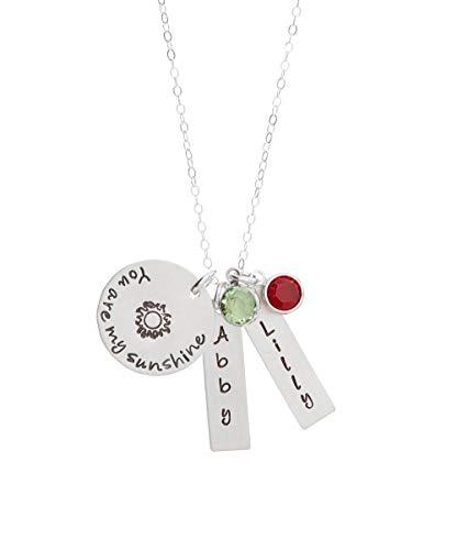 You are My Sunshine Two Names Sterling Silver Personalized Necklace by Hannah ()