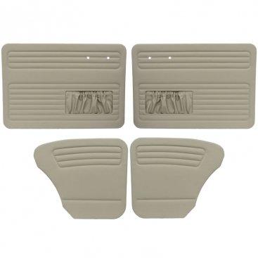 VW Door Panels, Full Set w/ Front Pockets, Off-White Smooth Vinyl, Beetle Sedan 1956-1964 (Door Front Panels Tmi)