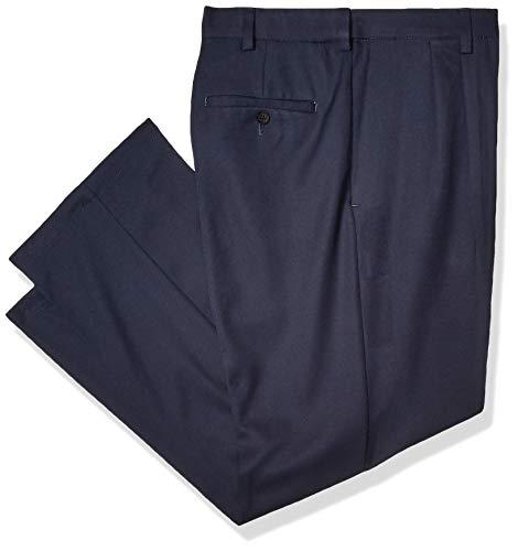 Navy Mens Plain Front Pants - Haggar Men's Cool 18 Pro Classic Fit Pleat Front Expandable Waist Pant, Navy, 32Wx30L