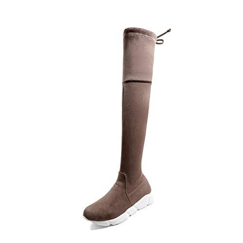 Tamaño Caqui Invierno Encima Tacón Haoliequan Grandes 43 Botas De Mujer Negro La 34 Gris Match Zapatos Por Tacones Mujeres Rodilla Moda All 1qUwvqE