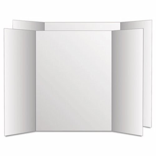 Eco-Brites Too Cool Tri-Fold Poster Board, 28 x 40, White, 12 Boards per Carton (4 Cartons)
