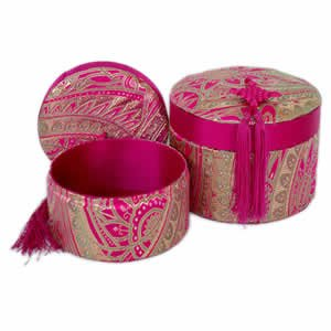 Nested Tassel Boxes- Round- Magenta- Set of 2