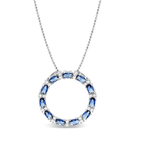INSPIRED BY YOU. Oval and Round Cut Prong Set Simulated Blue Sapphire and Cubic Zirconia Circle Pendant on 24