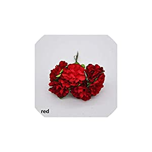 YP-fashion 72Pcs/lot 3CM Artificial Paper Flowers Chrysanthemum Flower Bouquet Wedding Party Decoration Scrapbooking Wreath Fake Flower,red 96