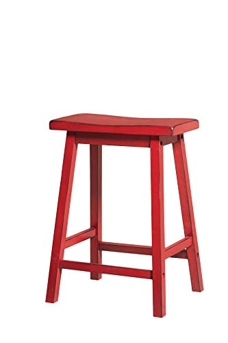 Acme Furniture Gaucho Counter Height Stool (Set of 2), Antique Red