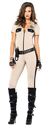 911 Halloween Party (Leg Avenue Women's 4 Piece Deputy Patdown Police Costume, Tan,)