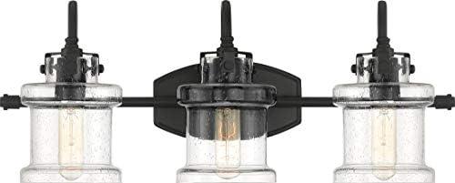 Quoizel DNY8603EK Danbury Clear Seedy Glass Vanity Wall Lighting, 3-Light, 300 Watts, Earth Black 10 H x 24 W
