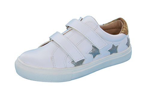 Girls, Boys (Little Kid/Big Kid) Velcro Strap - Stars Design, Leather Fashion Sneakers, White/Silver