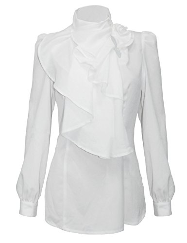 Firpearl Women's Vintage Ruffle Long Sleeve Shirt Blouse Tops L White (Long White Sleeve Ruffle Blouse)