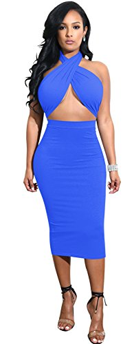 Arctic Cubic Sexy Sleeveless Halterneck Ruched Cross Wrap Front Cut Out Tie Back Highwaist Midi Bodycon Dress Royal Blue XL (Back Cut Out Tie)