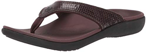 Spenco Women's Yumi 2 Snake Sandal Flip-Flop, Brown, 9 Medium US