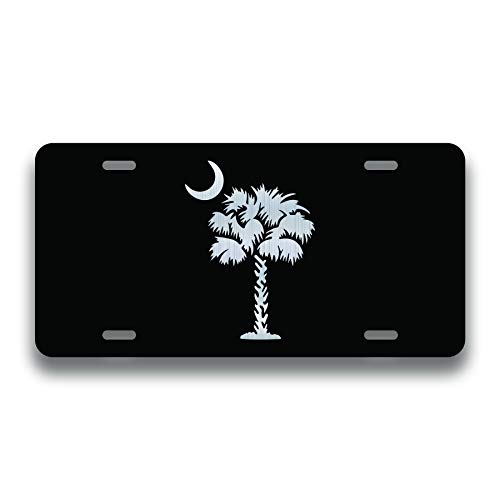(JMM Industries Palmetto Tree Vanity Novelty License Plate Tag Metal South Carolina State Flag 12-Inches by 6-Inches Etched Aluminum UV Resistant ELP012)