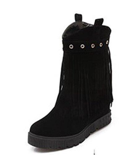 Round mode daim talons de Head en à Tassel Bottes Dress hauts Party femme Chaussures black Bottes UT86B