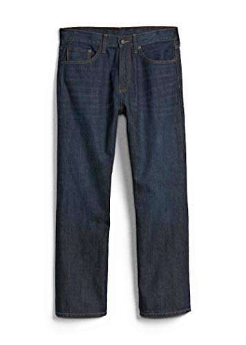 GAP Men's Jeans in Relaxed Fit, Dark Resin Wash, Non-Stretch Cotton (36x30)