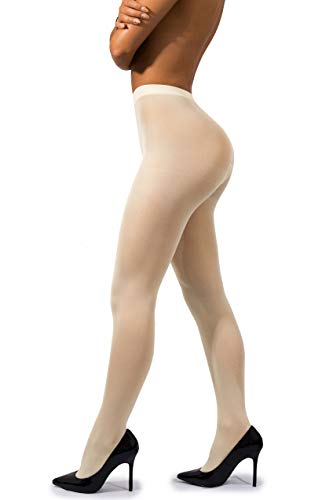 sofsy Opaque Microfibre Tights for Women - Invisibly Reinforced Opaque Brief Pantyhose 40Den [Made In Italy] Cream Off White 5 - X-Large