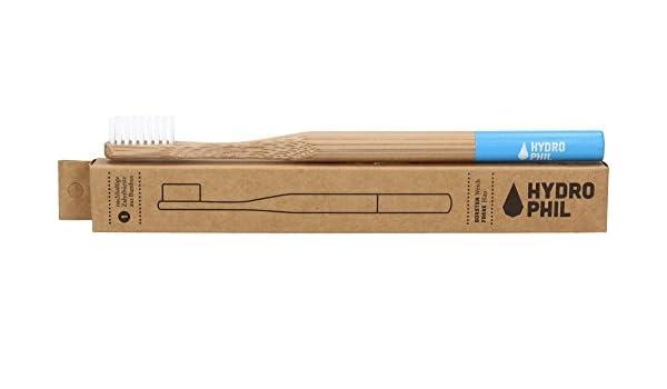 HYDROPHIL - Cepillo de Dientes Extra Suave Azul - Producción sostenible con bambú - vegano - Higiene sin plásticos - Cerdas de nylon: Amazon.es: Belleza