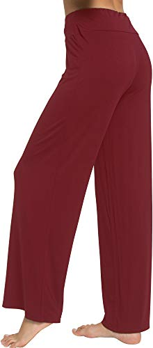 WiWi Women's Bamboo Wide Leg Sleep Lounge Pants Lightweight Pajama Bottoms Pants S-XXXXL(4XL), Wine, 3X-Large