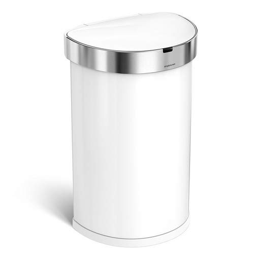 simplehuman 45 Liter / 12 Gallon Stainless Steel Semi-Round Sensor Can, Touchless Automatic Trash Can, White - Trash Can Load
