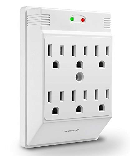 6 Outlet Wall Mount Surge Protector, Fosmon 3-Prong Surge Suppression 700 Joules, 15A 125VAC 60Hz 1875Watts Wall Outlet Adapter, Grounded LED, ETL Listed - White (In Ceiling Plate Plug)
