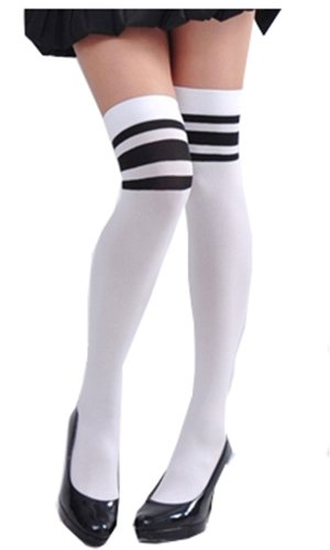 Sexy Stretchy Over the Knee High Stripes Tights XS ~ M in Bl