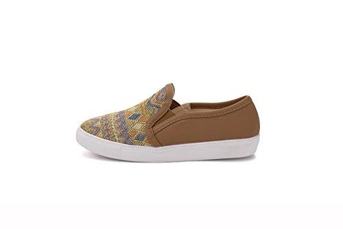 Mila Lady Cornelia Da Donna Slip On Tribale Modello Moda Sneakers, Cammello