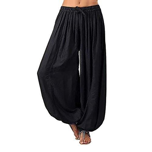 Pants for Women - Pervobs Women Loose Elastic Waist Harem Pants Yoga Bloomers Pants Trousers(3XL, Black)