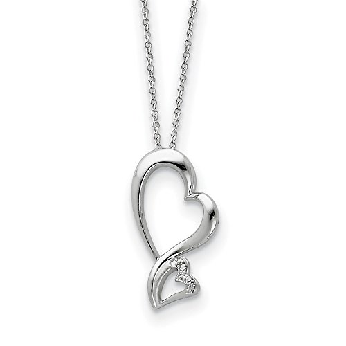 - 925 Sterling Silver Cubic Zirconia Cz Protected Heart 18 Inch Chain Necklace Pendant Charm S/love Inspirational Fine Jewelry Gifts For Women For Her