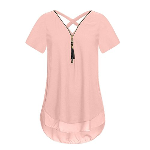 Scoop Shell (CUCUHAM Women Loose Chiffon Short Sleeve Tank V-Neck Zipper Hem Scoop T Shirts Tops(X-Large,Pink))