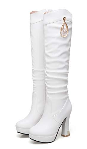 Weiß Plateau High Strass Langschaft Damen Heel Mit Reißverschluss Westernabsatz Elegant Braut Aisun Stiefel 7WTpHAqT