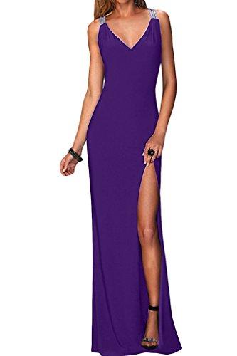 Abendkleid Promkleid Damen Ivydressing Ausschnitt Lang Violett Sexuell Chiffon Schlitz Partykleid V aAFgqwZ
