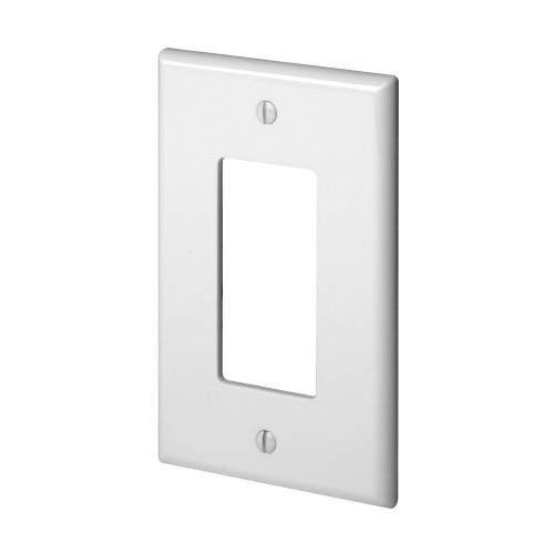 Arrow Switchplate - Leviton PJ26-W 1-Gang Decora/GFCI Wallplate, Midway Size, White