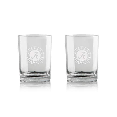 NCAA Whiskey Rocks Glass | Frosted Team Logo | Lead-Free | Premium Glassware | Set of 2 | 12oz