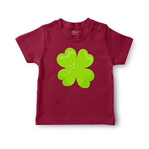 Clover Light Green Sparkle Short Sleeve Crewneck Toddler Boys-Girls Cotton T-Shirt Jersey - Garnet, 18 Months